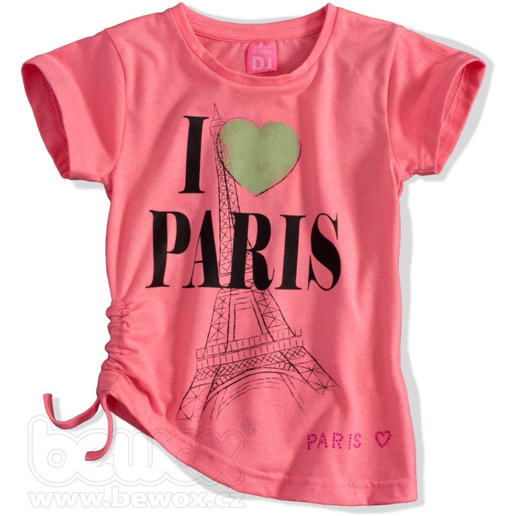 Dievčenské tričko DIRKJE PARIS neónovo ružové