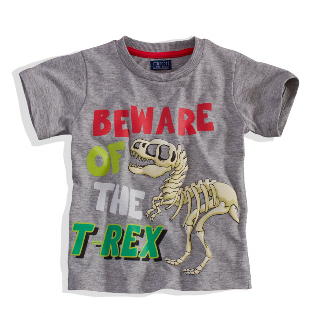 Chlapčenské tričko s krátkym rukávom Minoti BITE T-REX sivé