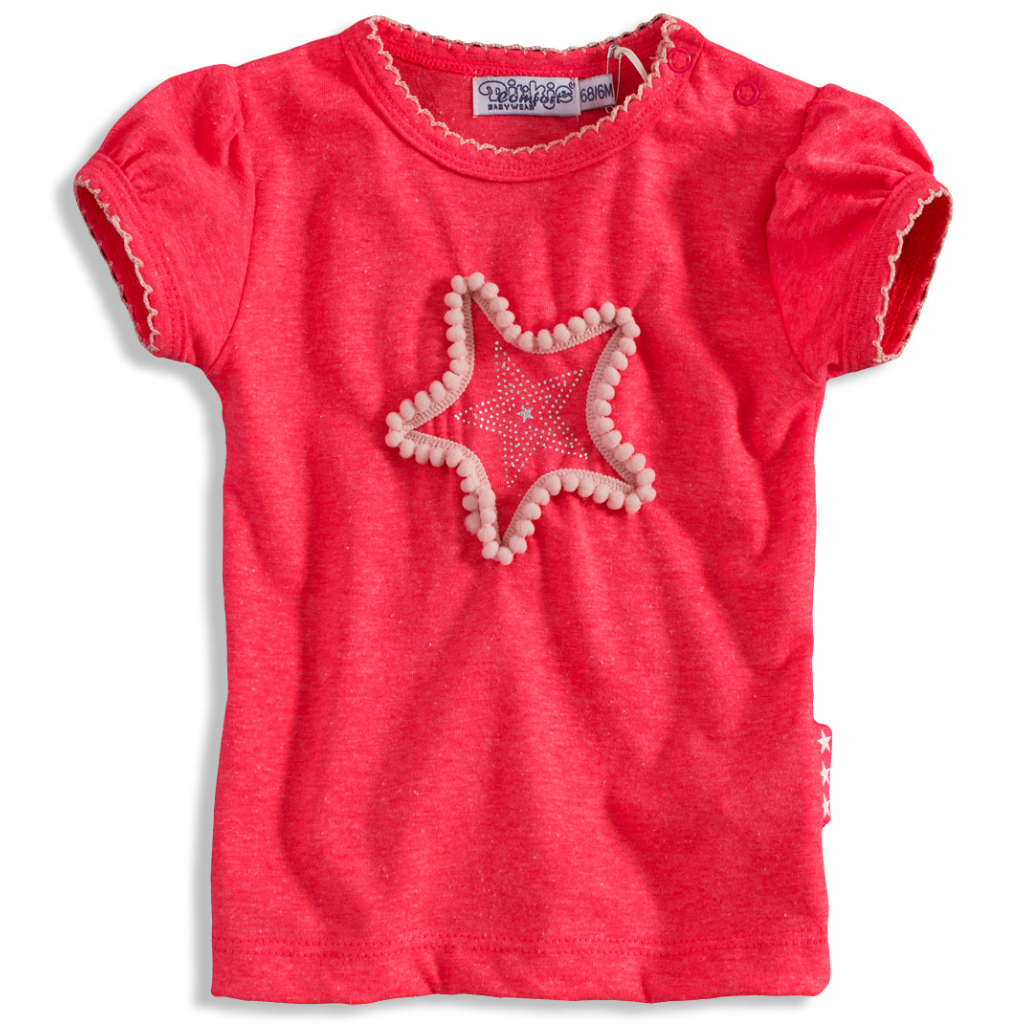 Dievčenské tričko so srdiečkom Dirkje PINKY STAR tmavoružové