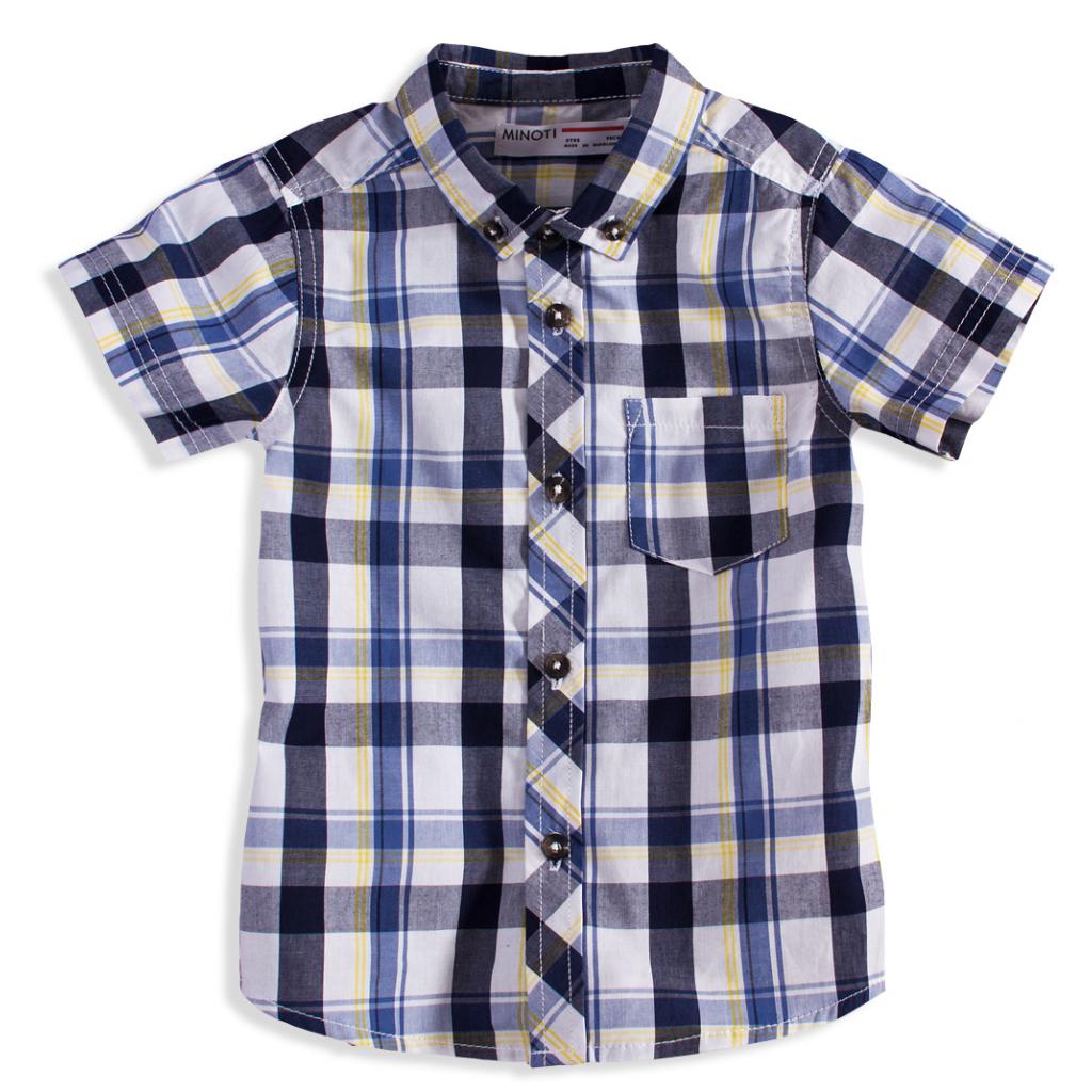 c5eaba44fca2 Chlapčenská košeľa s krátkym rukávom BEEP modrobiela - PELEA.SK