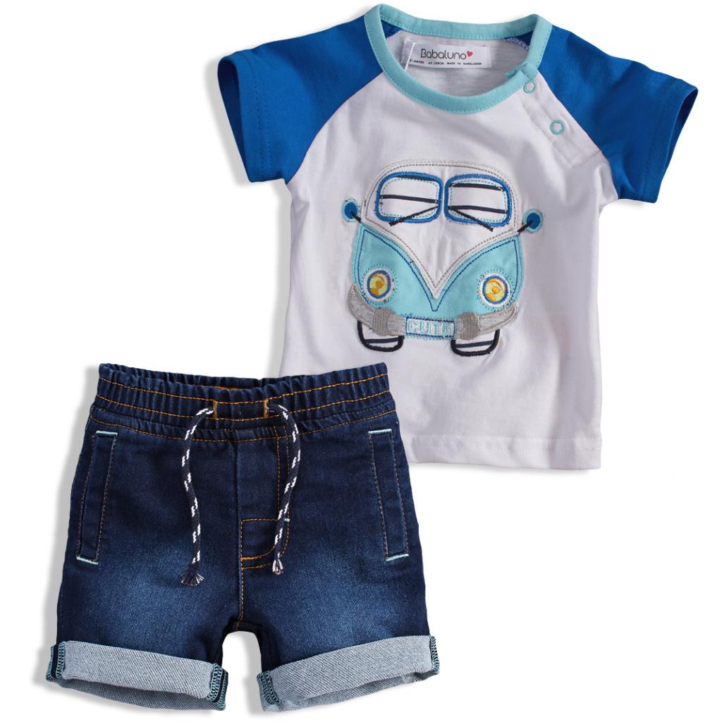 Súprava pre chlapcov AUTOBUS BABALUNO biela+modrá
