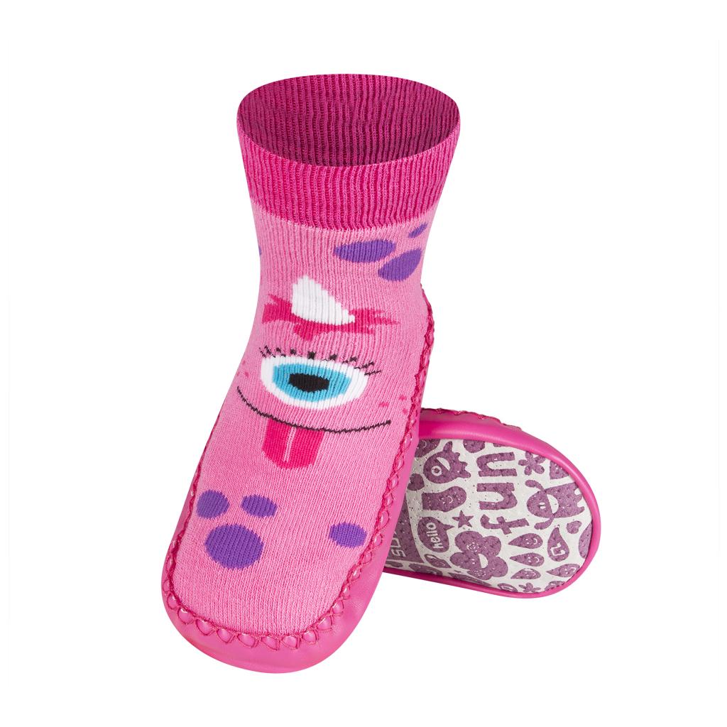 Detské papuče s koženou podošvou SOXO MONSTER
