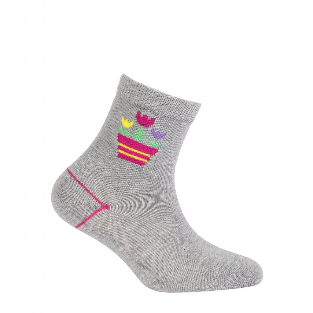 Dievčenské ponožky WOLA TULIPÁNY šedé