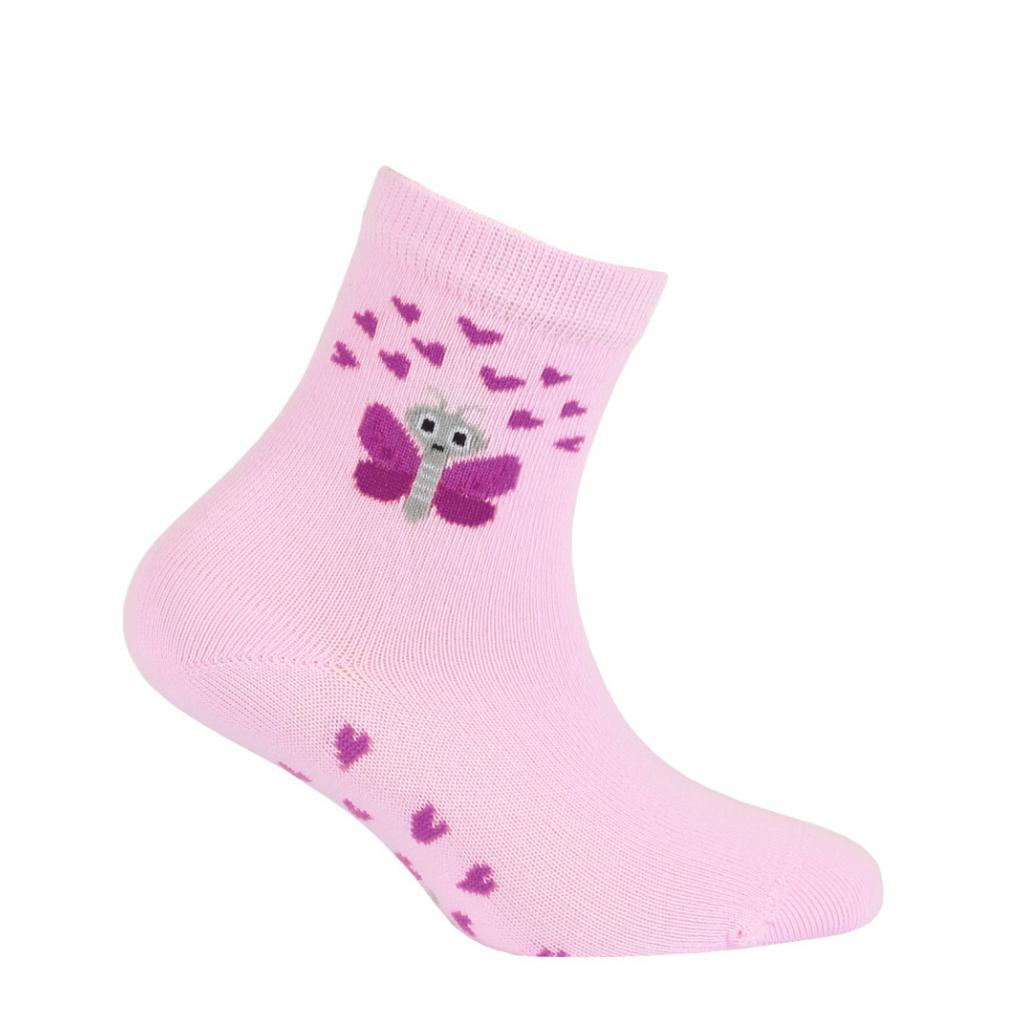 Dievčenské vzorované ponožky WOLA MOTÝLIK ružové