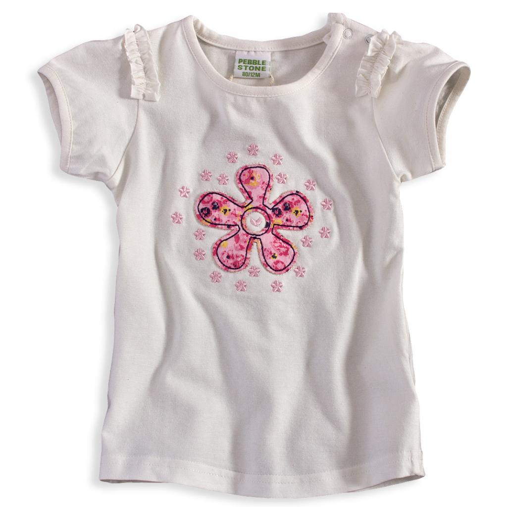 Dievčenské tričko PEBBLESTONE KVETINKA biele