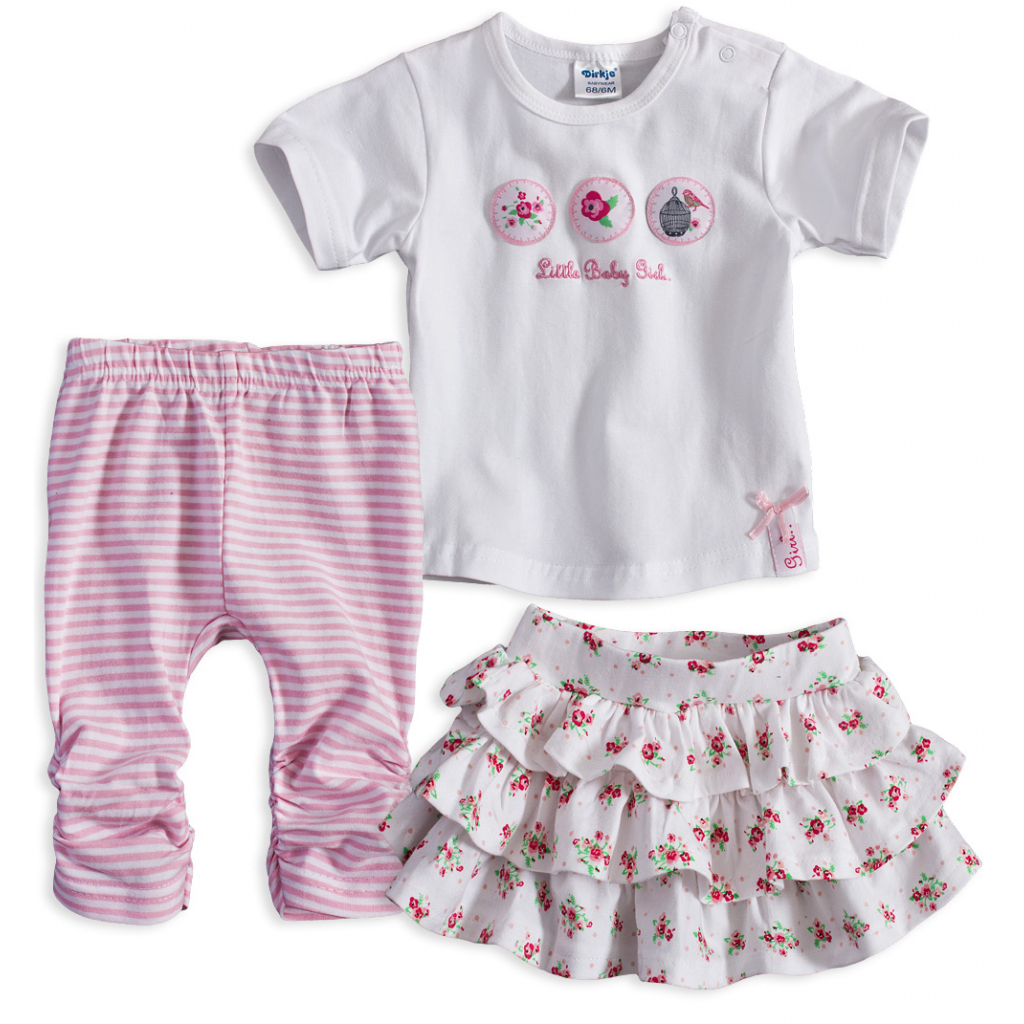 Dojčenská dievčenská súprava DIRKJE LITTLE BABY biela
