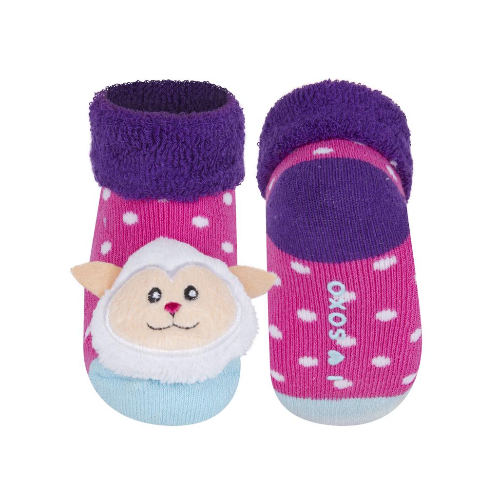 Dojčenské ponožky s hrkálkou SOXO OVEČKA ružové