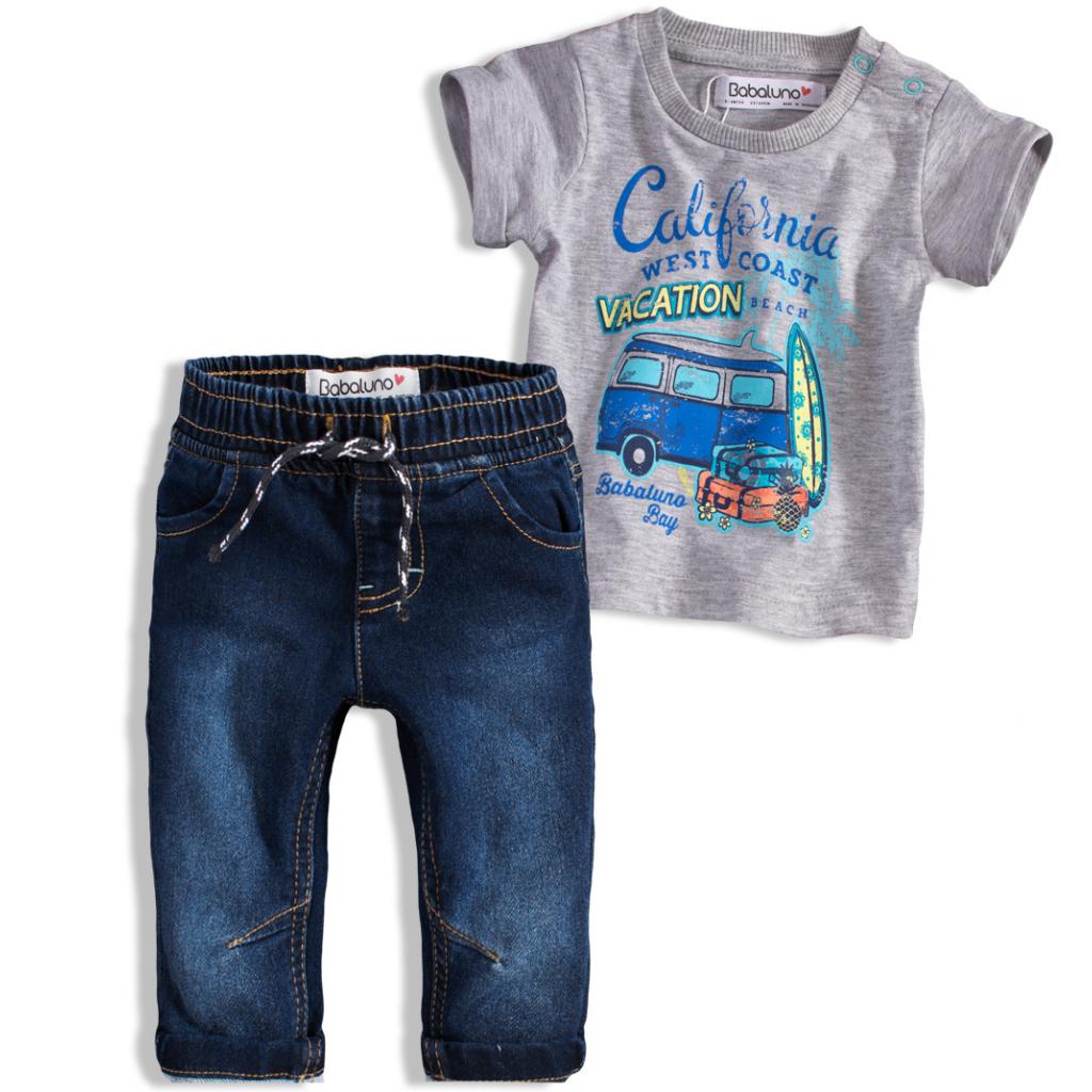 Chlapčenská súprava BABALUNO OCEANSIDE šedé tričko