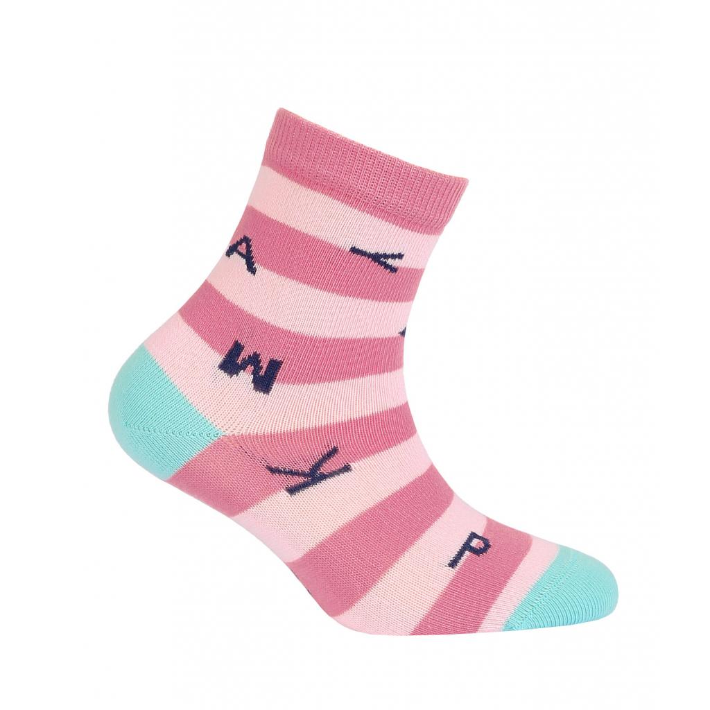 Dievčenské ponožky GATTA PÍSMENÁ ružové