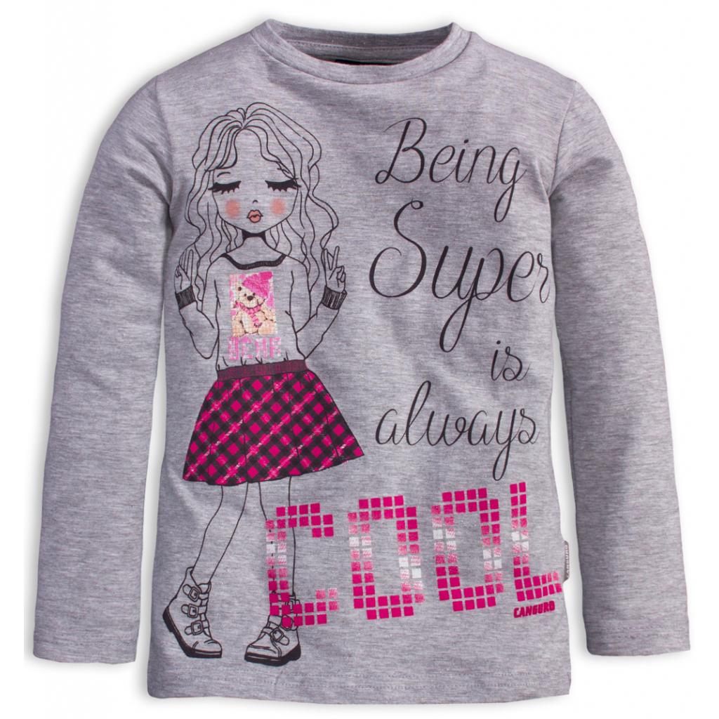 Dievčenské tričko s potlačou CANGURO COOL šedé