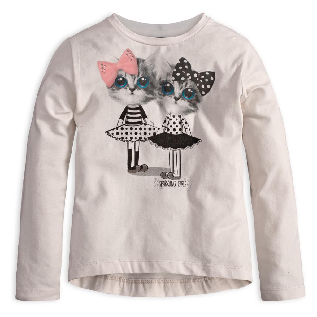 b05f48a5def9d Dievčenské tričko s dlhým rukávom MixńMATCH MAČIČKY biele - PELEA.SK
