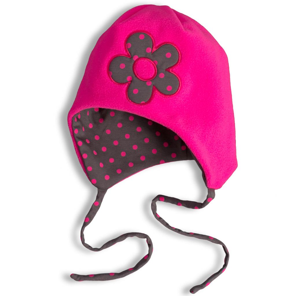 Dievčenská fleecová čiapka YETTY KVETINKA neon ružová