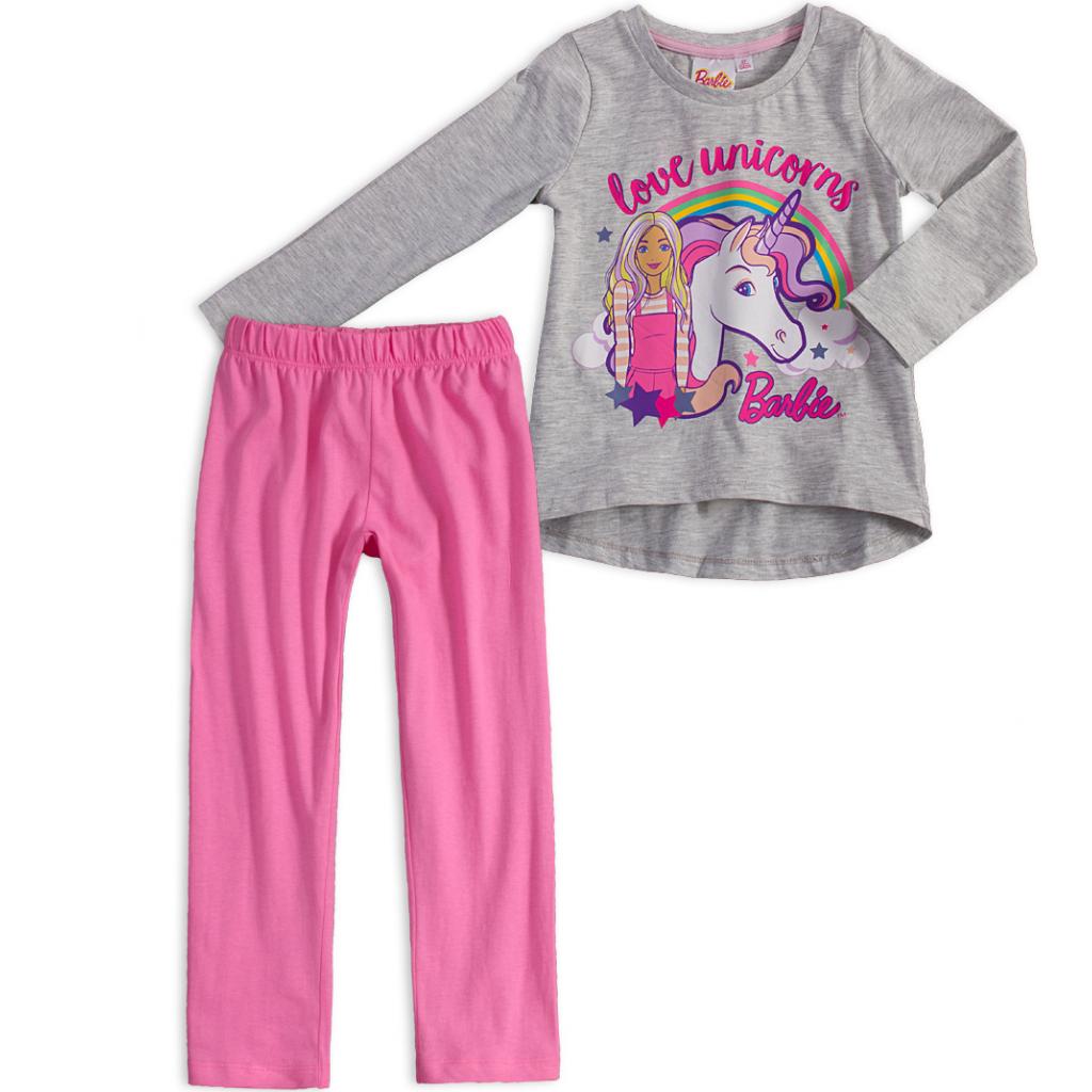 Dievčenské pyžamo BARBIE JEDNOROŽEC šedý melír