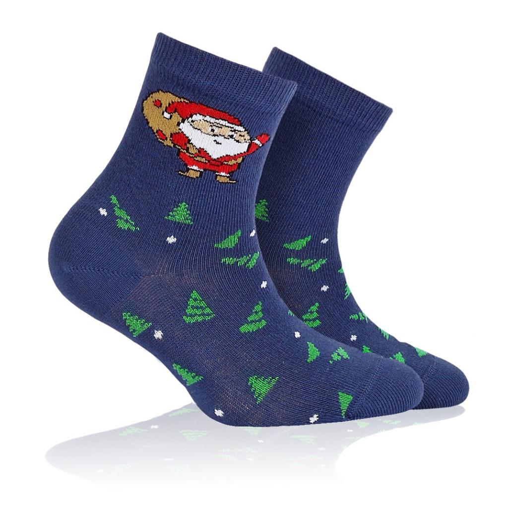 Detské ponožky s vianočným vzorom WOLA SANTA CLAUS modré