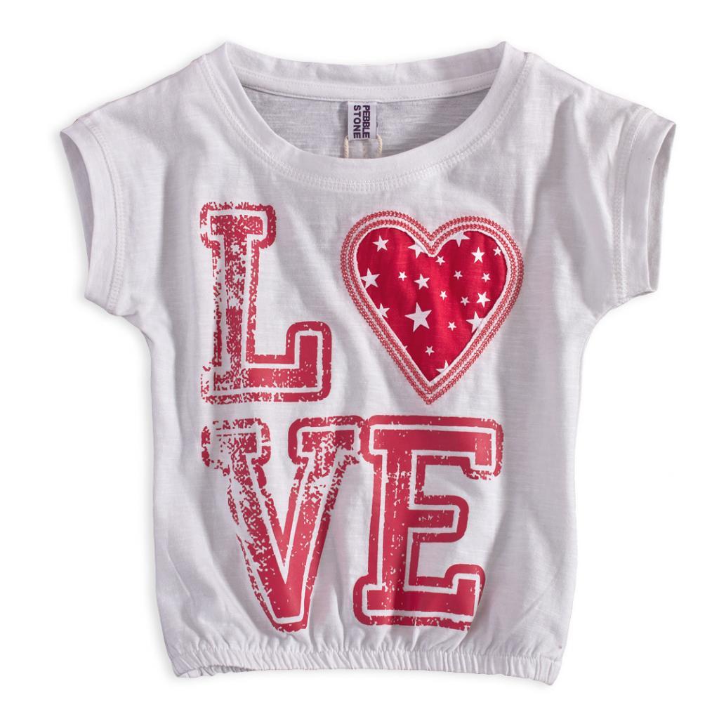 Dievčenské tričko PEBBLESTONE LOVE biele