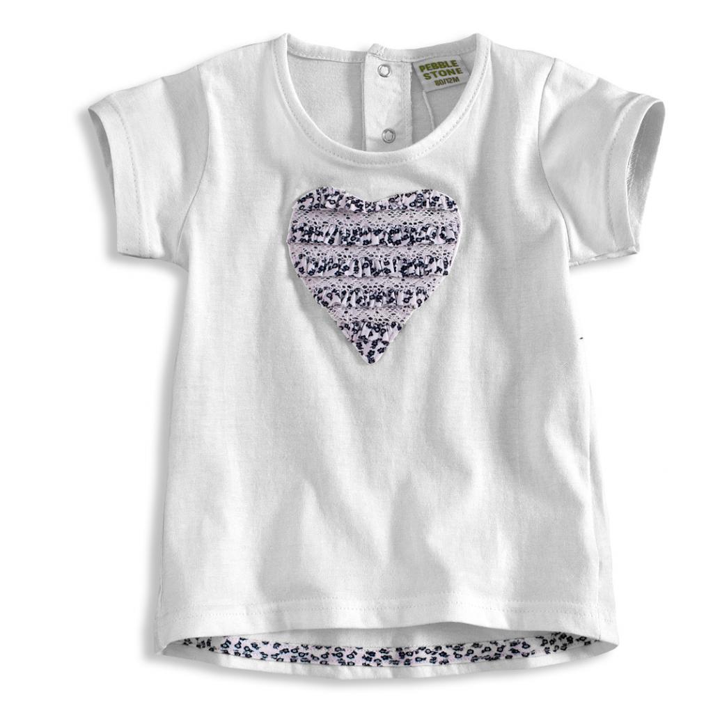 Dojčenské dievčenské tričko PEBBLESTONE SRDCE biele