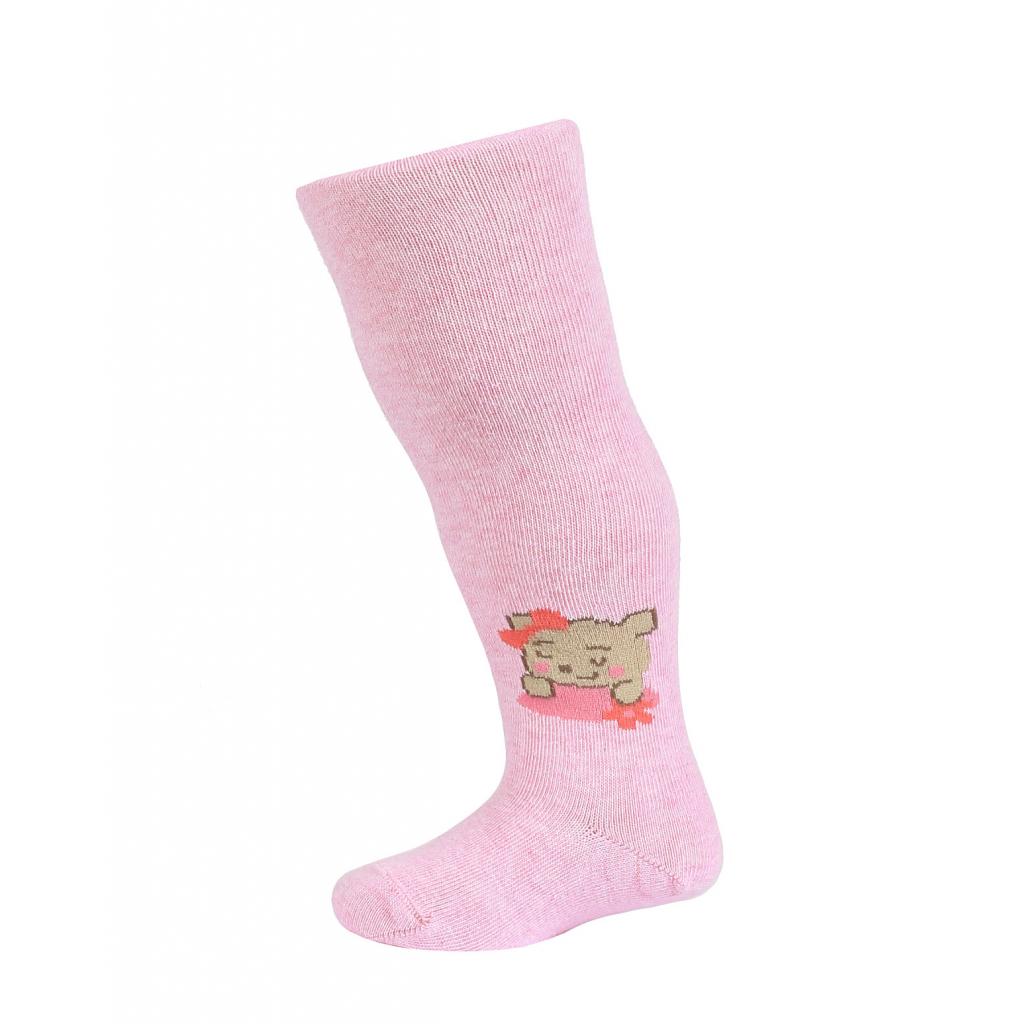 Dojčenské pančuchy so vzorom WOLA MEDVEDÍK ružové