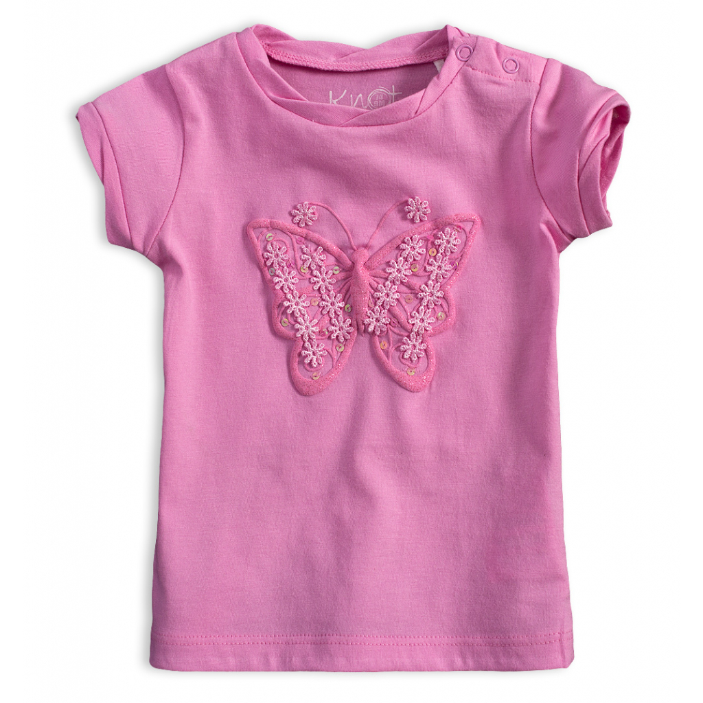 Dievčenské tričko KNOT SO BAD MOTÝĽ ružové