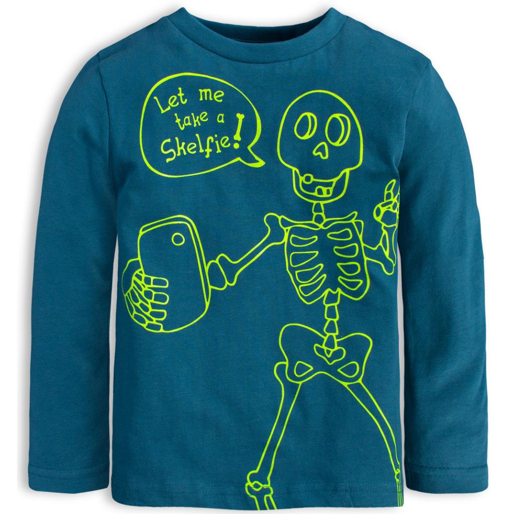 Chlapčenské tričko KNOT SO BAD SKELFIE petrolejové