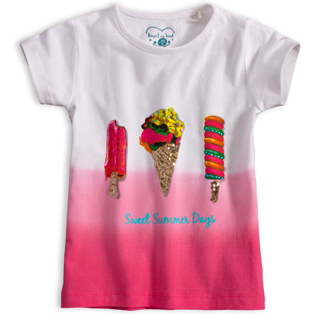 Dievčenské tričko s flitrami KNOT SO BAD SWEET SUMMER ružové