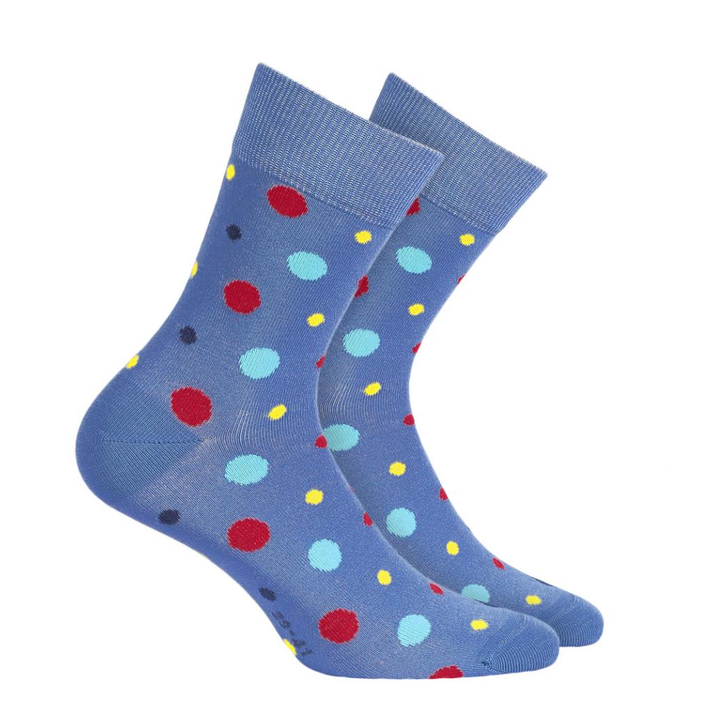 Pánske vzorované ponožky WOLA FAREBNÁ BODKA modré