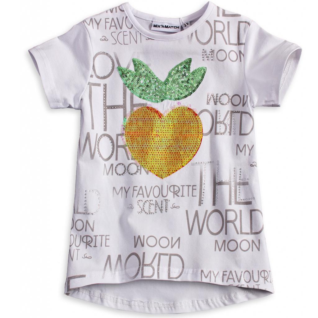 Dievčenské tričko s flitrami Mix´nMATCH JAHODA biele