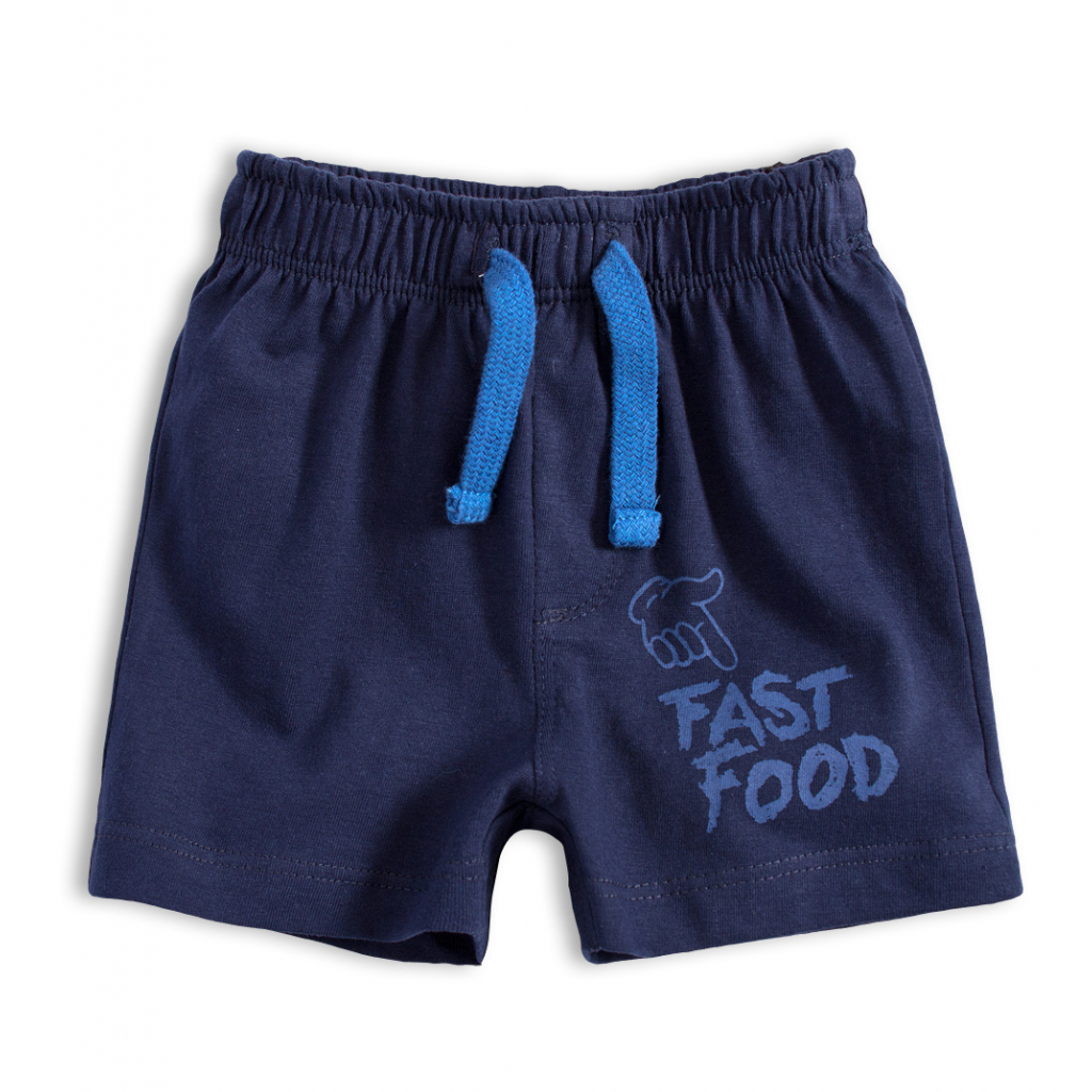 Dojčenské bavlnené šortky FAST FOOD tmavo modré