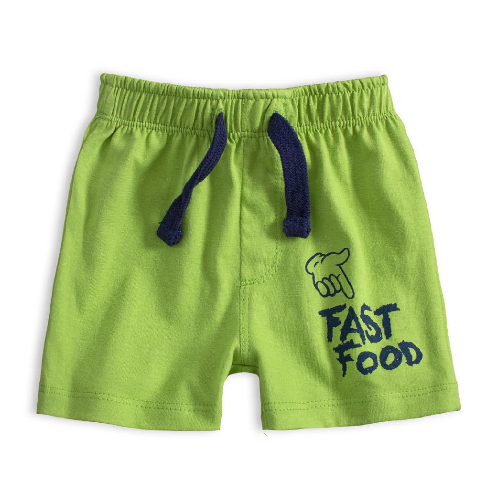 Dojčenské bavlnené šortky FAST FOOD zelené
