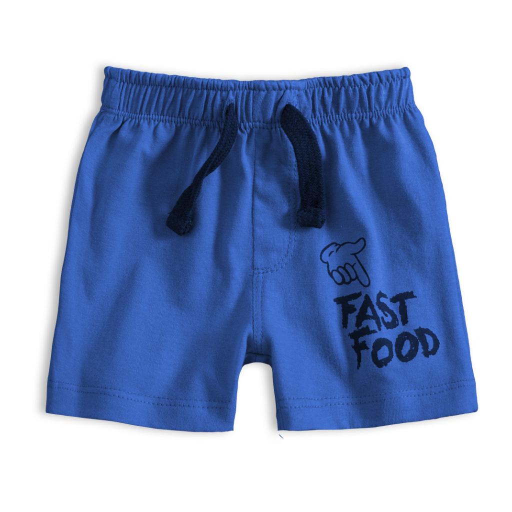 Dojčenské bavlnené šortky FAST FOOD modré