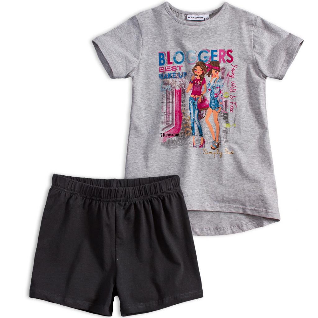 Dievčenské tričko a šortky Mix´nMATCH BLOGGERS šedý melír