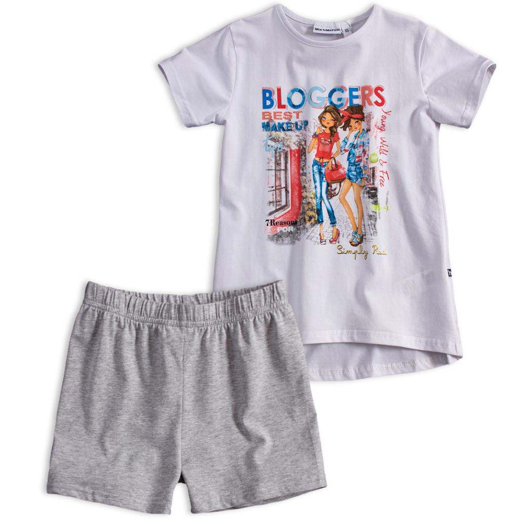 Dievčenské tričko a šortky Mix´nMATCH BLOGGERS biela