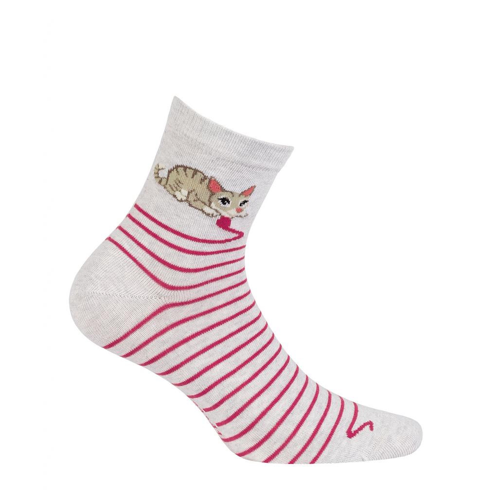 Dievčenské vzorované ponožky WOLA MAČIČKA šedé