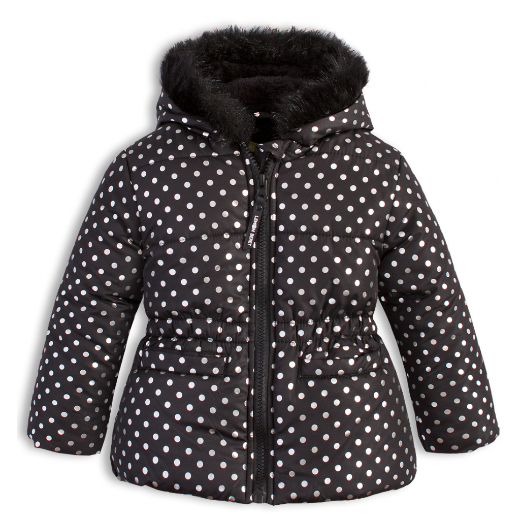 Dojčenská dievčenská zimná bunda LEMON BERET BODKY čierna