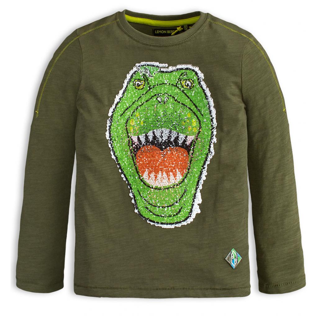 Chlapčenské tričko s preklápacími flitrami LEMON BERET DINO zelené