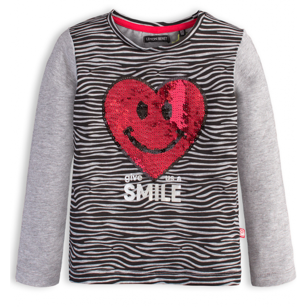 Dievčenské tričko LEMON BERET SRDCE šedé