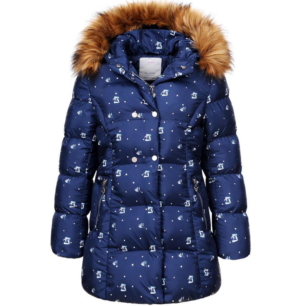Dievčenský prešívaný kabát GLO STORY HVIEZDIČKY modrý