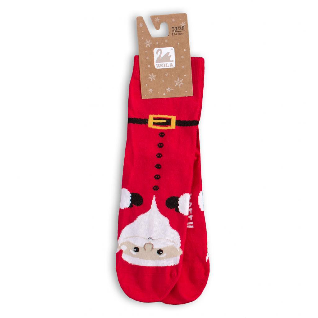 Detské ponožky s vianočným motívom WOLA SANTA CLAUS červené