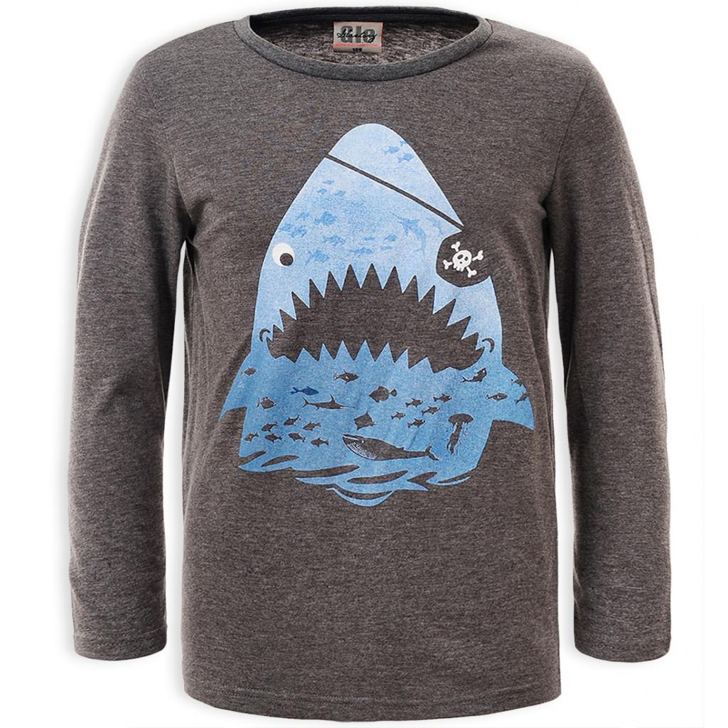 Chlapčenské tričko GLO STORY ŽRALOK šedé modrá potlač