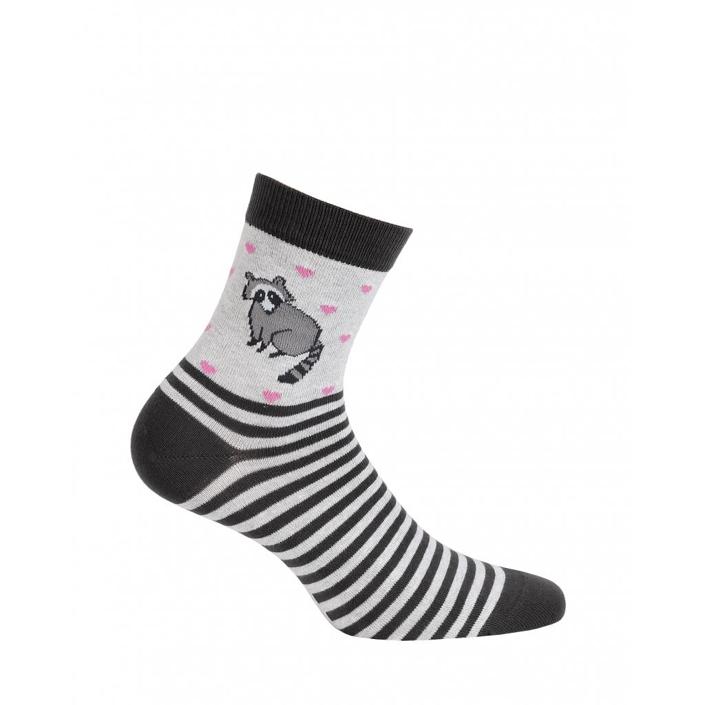 Vzorované dievčenské ponožky WOLA MÝVAL šedé