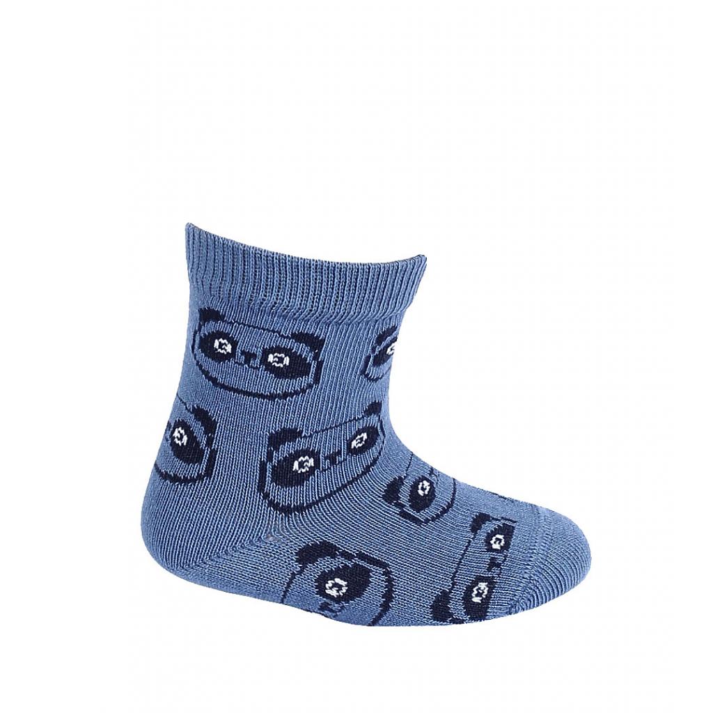 Dojčenské chlapčenské vzorované ponožky WOLA PANDY modré