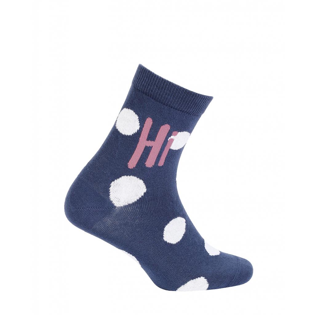 Dievčenské ponožky so vzorom WOLA HI BODKY modré
