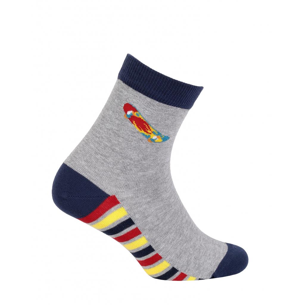 Chlapčenské vzorované ponožky WOLA SKATEBOARD šedé