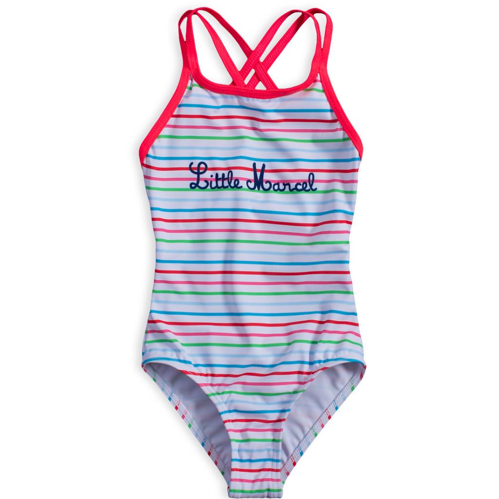 Dievčenské plavky vcelku LITTLE MARCEL farebné PRÚŽKY biele