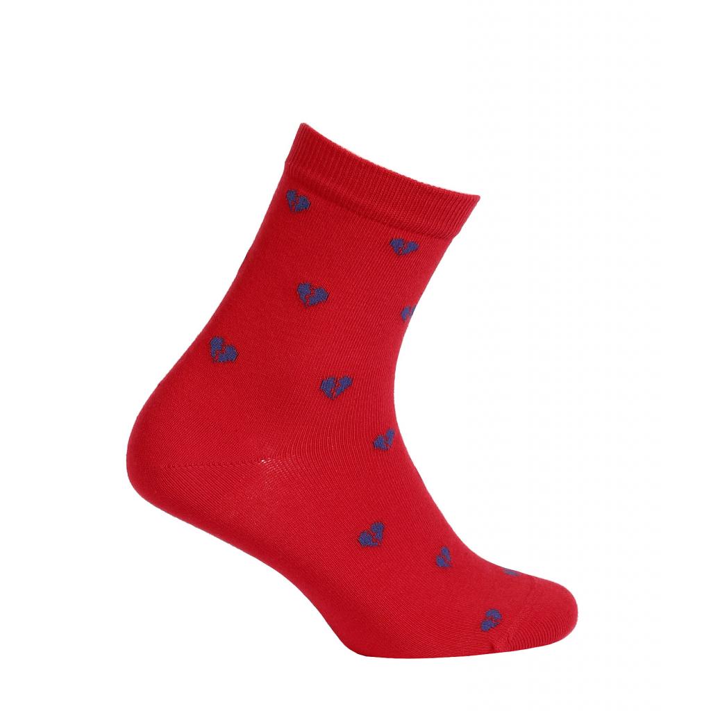 Dievčenské ponožky vzor WOLA SRDIEČKA červené