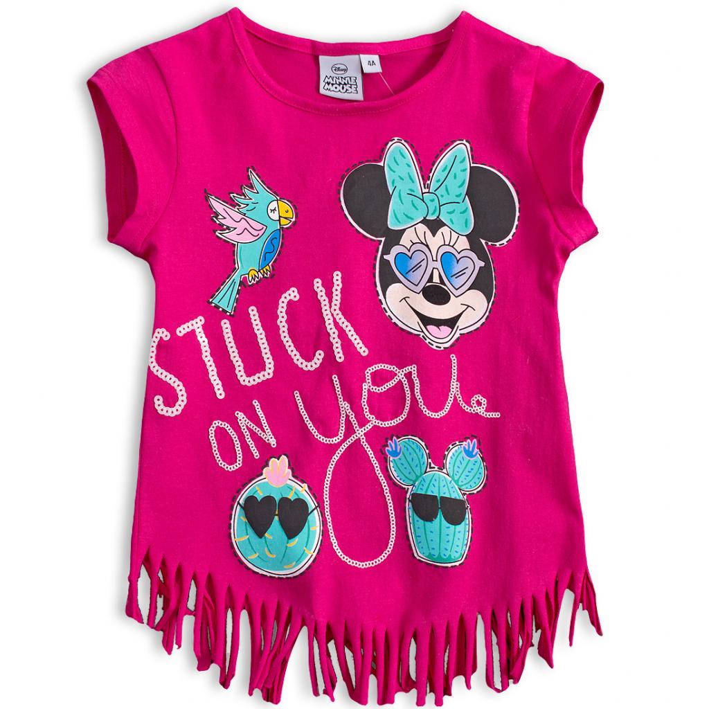 Dievčenské tričko DISNEY MINNIE s papagájom tmavo ružové