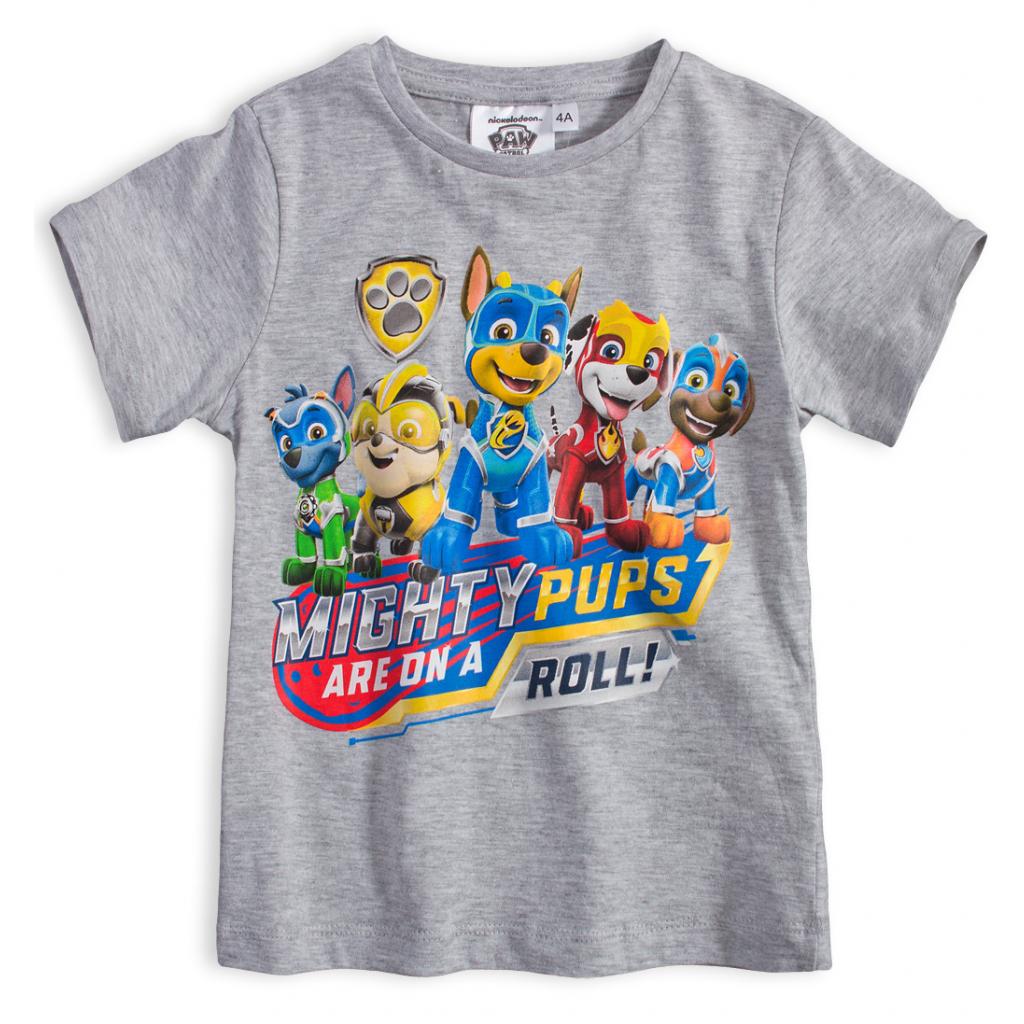 Chlapčenské tričko PAW PATROL MIGHTY PUPS šedé
