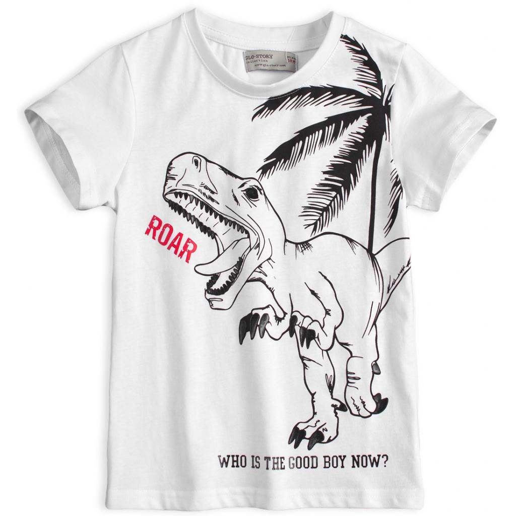 Chlapčenské tričko GLO-STORY TYRANOSAURUS biele