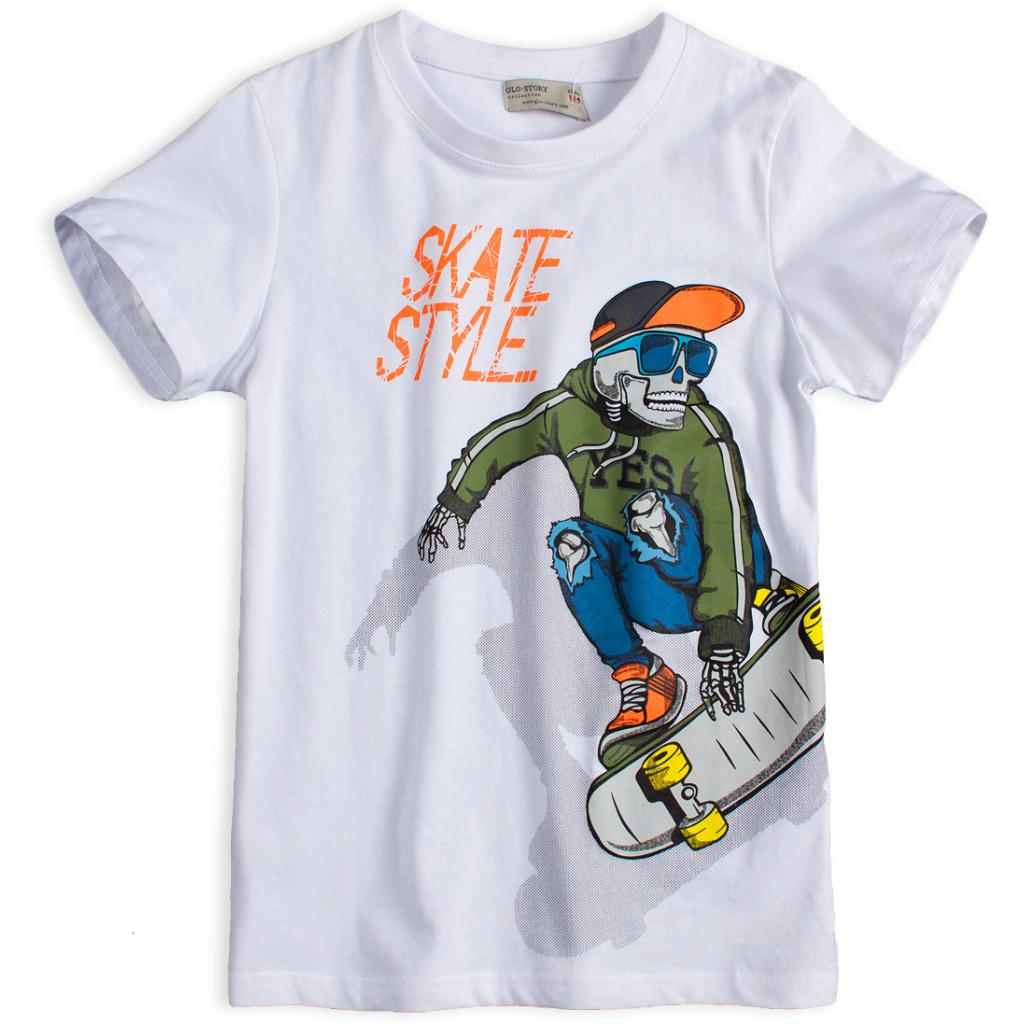 Chlapčenské tričko GLO-STORY SKATE biele