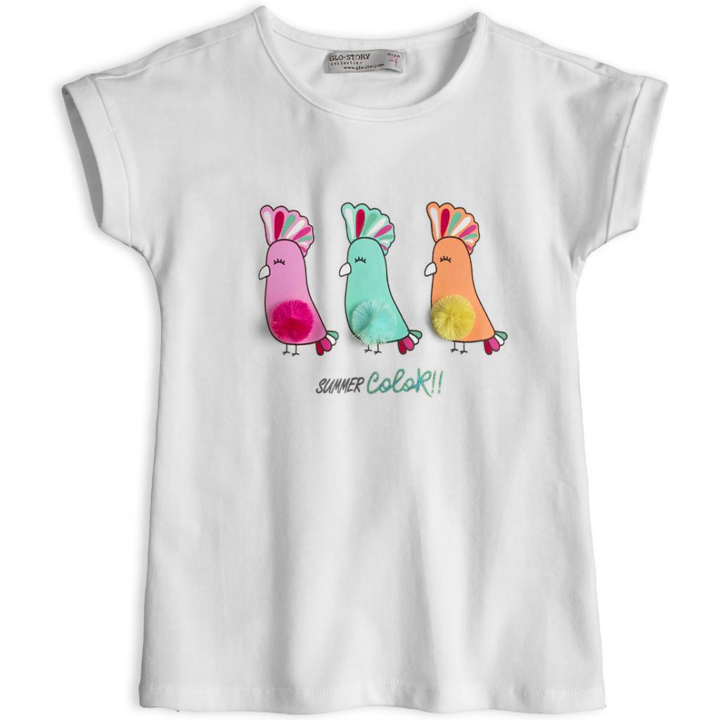 Dievčenské tričko GLO-STORY PAPAGÁJE biele