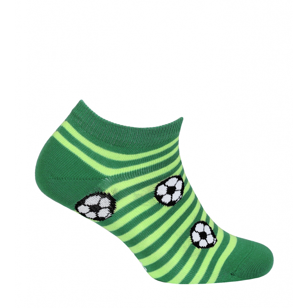 Chlapčenské členkové ponožky WOLA FUTBALOVÉ LOPTY zelené